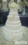 White Wavy Wedding Cake