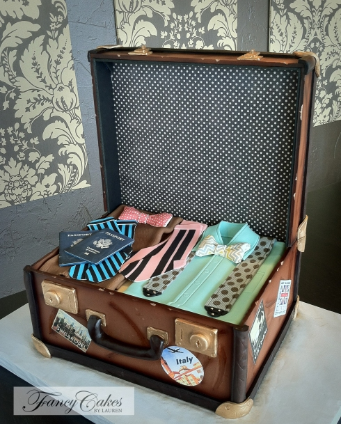 Vintage Luggage Groom's Cake