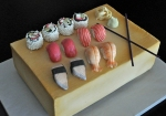 Sushi with Wood Block