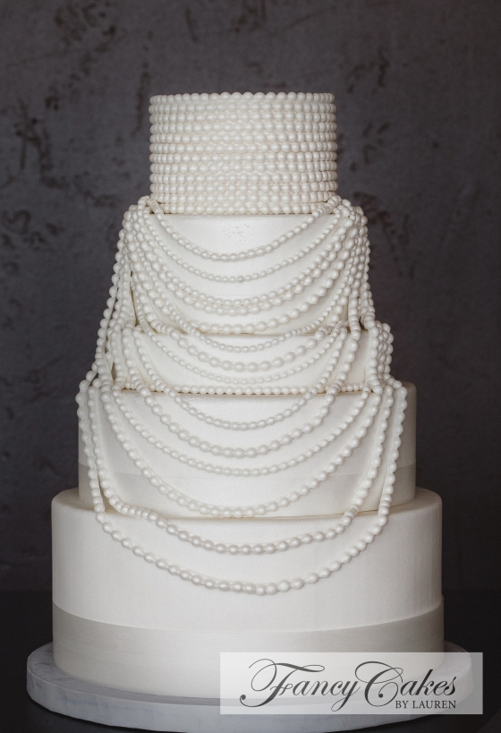 SpeakEasy Cake with Strands of Fondant Pearls