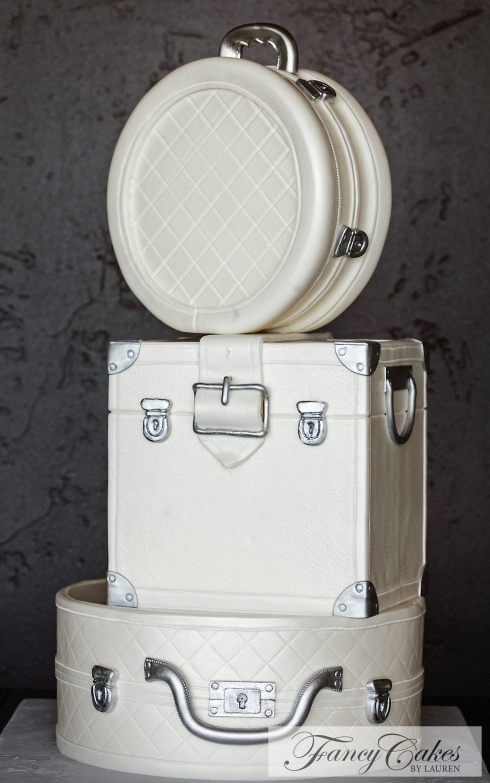 White Luggage Wedding Cake